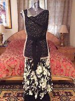 S'12 ICONIC GORGEOUS 2DIE4 Oscar de la Renta  silk/lace black/ivory dress blouse