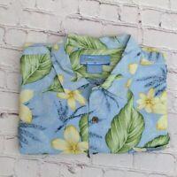 Bermuda Bay Mens Shirt Size XL Blue Yellow Floral Hawaiian 100% Silk Aloha Beach