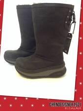 UGG Sz 5 fit adult 6m KLARISSA BLACK LEATHER WATERPROOF SHEEPSKIN SNOW BOOTS