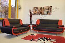 PASSERO CAROL BLACK AND RED FAUX LEATHER REGULAR + LARGE SOFA 3+2 SEATER