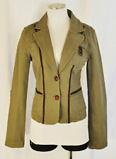 BoHo CHIC Urban DKNY Green Brown Elbow Patch Riding Layering Blazer Jacket M