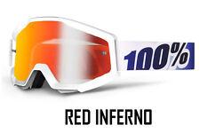 Occhiali da moto con lenti in rosso con montatura in bianco