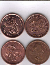 4 DIFFERENT 5 CENT COINS from SOUTH AFRICA (2006, 2007, 2008 & 2009)