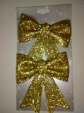 2 glitzy glittery gold christmas bows ideal for wreaths etc