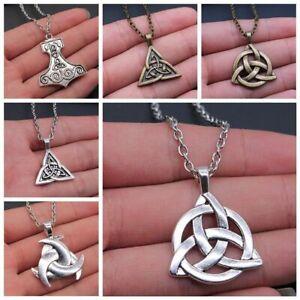 Irish Celtic Triquetra Trinity Knot Symbol Charm Pendant Necklace Silver Bronze