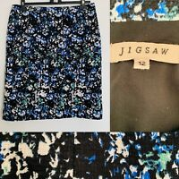 Jigsaw Vintage Pencil Skirt Painted Abstract Print Straight Knee Length Size 12