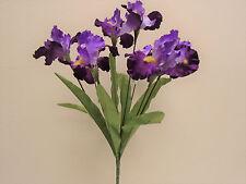 """PURPLE Iris Bush Satin 8 Artificial Flowers 22"""" Bouquet 6109PP"""