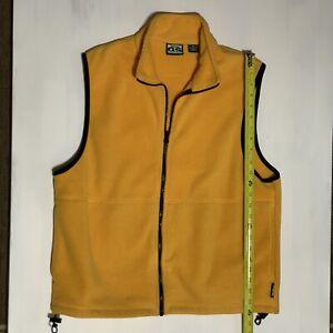 Gander Mountain Guide Series Vest Men's M Zip Up Fleece Yellow 100% Polyester
