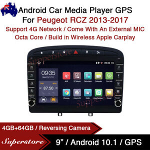 """9"""" Android 10.1 Car Stereo Non-DVD GPS Radio Head Unit For Peugeot RCZ 2013-2017"""