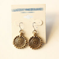 New Lucky Brand Floral Round Tag Drop Earrings Gift Vintage Women Party Jewelry