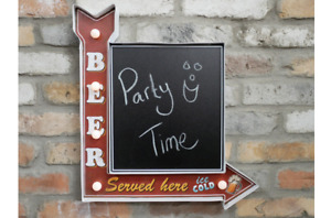 Wall Light Up Sign Plaque With Chalk Metal Board Message Beer Bar Pub Man Cave