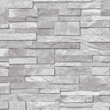 GRANDECO IDECO LIGHT GREY STONE BRICK WALL QUALITY VINYL WALLPAPER A17202