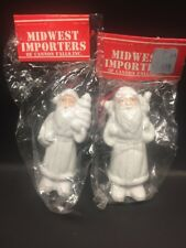 Midwest Importers Of Cannon Falls White Christmas Santa Ornaments New
