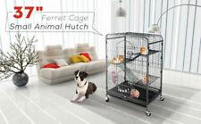 37'' 4 Level Indoor Ferret Rabbit Cage Small Animals Hutch Habitat w/ Feeder