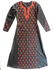 Ladies embroidered Indian cotton dress Black with red and orange flowers NEW E