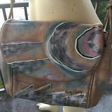 FANCY NANCY Leather Handbag Purse Crossbody Signed Artsy Painted Vintage