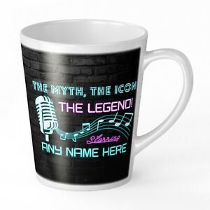Personalised The Myth, The Icon The Legend! Cool Neon Novelty Gift Latte Mug