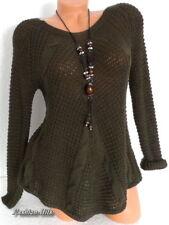 Damen Pullover Grobstrick Zopfmuster Italy Pulli Longpulli Khaki  S M 36 38