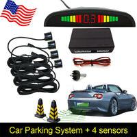 Black Car Parking Sensor System Audio Buzzer 4 Sensor Alarm Reverse +LCD Display