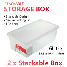 2x 6L Stackable Plastic Storage Container Box w Lid UnderBed Tub Organiser Crate