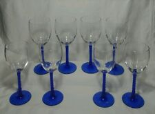 Set of (8) Crystal Wine Glass & Twisted Blue Crystal Stem ~ MINT Cond.