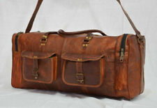 New Men's Extra LARGE Real Leather Luggage Travel Weekend Duffel Sports Bag
