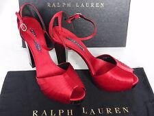 NUOVO Donna Ralph Lauren Kaira Rosso Seta di Raso Scarpa Sandali Tacchi UK 5.5 38.5 £ 780