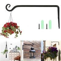 10'' Outdoor Garden Plant Basket Hook Hanger Iron Wall Hanging Bracket Metal