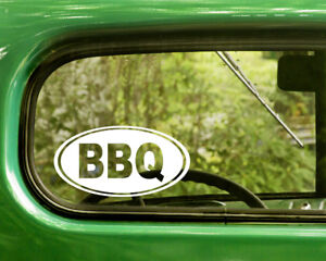 2 BBQ BARBECUE DECALs Oval Sticker For Car Window Laptop Rv Bumper Truck Jeep