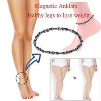 Mens Womens Black Magnetic Hematite Anklet Pain Relief Energy Charm Bracelet UK