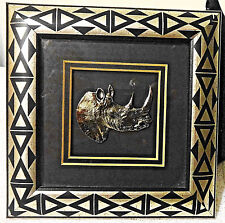 """African Silver Plated Rhino Framed Print with African Style Frame 5.4"""" X 5.4"""""""