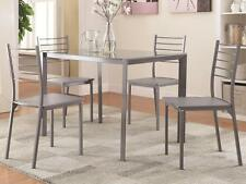 5 Piece Glass Top Gray Finish Metal Dining Set by Coaster 100027
