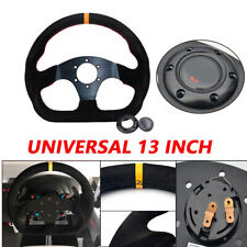 1XUniversal 13in Racing Car Flat Yellow Suede Leather Drift Sport Steering Wheel