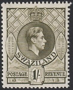Swaziland 1938 KGVI 1sh Brown-Olive p13½x13 Mint SG35 cat £28