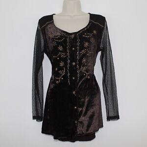 Womens JOE BROWNS Casual Party Brown Long Sleeve Mesh Velvet Button Top UK 12