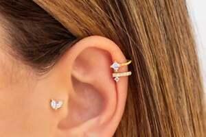 Single Delicate Ear Cuff Earrings Non Pierced cuffs amethyst sterling silver