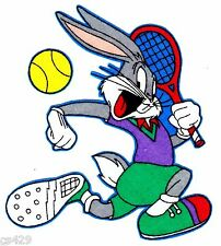 "4.5"" LOONEY TUNES BUGS BUNNY TENNIS SPORTS CHARACTER FABRIC APPLIQUE IRON ON"