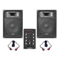 2x Fenton 12 Inch Active Powered Speakers Bluetooth USB Mixer Mobile DJ 1200W