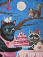 1.5x2 DOLLHOUSE MINIATURE PRINT OF PAINTING RYTA 1:12 SCALE CAT VALENTINES DAY
