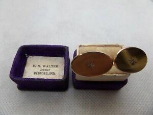 Bedford Indiana Genuine Diamond Gold Filled Cufflinks D.H. Walter Jeweler