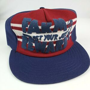 Vintage Farm and Get Your Just Reward trucker hat snapback Red White Blue