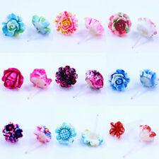 Resin Flower Plastic Mixed Earrings 36 Pairs Colorful Rose Mini Ear Stud Jewelry