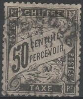 "FRANCE STAMP TIMBRE TAXE N° 20 "" TYPE DUVAL 50c NOIR "" OBLITERE A VOIR"