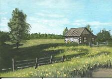 """Aceo original acrylic painting """"Old Homestead"""" by J. Hutson"""