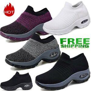 Women Sport Sneakers New Cushion Slip on Walking Jogging Running Sock Shoes AU