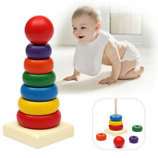Educational Toys Up Play Toy Stacking Ring Rainbow Wooden Tower Baby Kids Stack