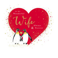 Wonderful Wife Penguins Valentine's Day Greeting Card Valentines Cards
