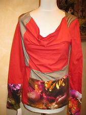 Shirt  mit Wasserfallkragen Gr. 40 - Einzelteil  Brandt Design  NEU rot-beige