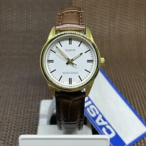 Casio LTP-V005GL-7A Standard Analog White Dial Brown Leather Ladies' Watch