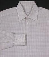ARMANI COLLEZIONI White w/ Olive/Brown Checkered Cotton Dress Shirt (43) 17-36